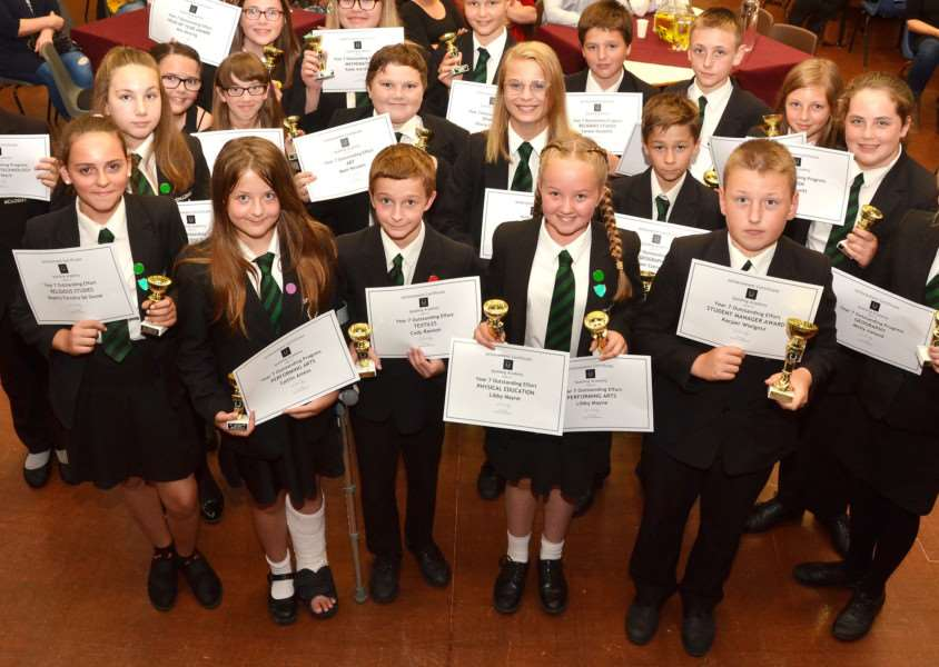 Students with certificates and trophies presented at Spalding Academy's Outstanding Achievement Evening in July. Photo (TIM WILSON): SG110717-111TW.