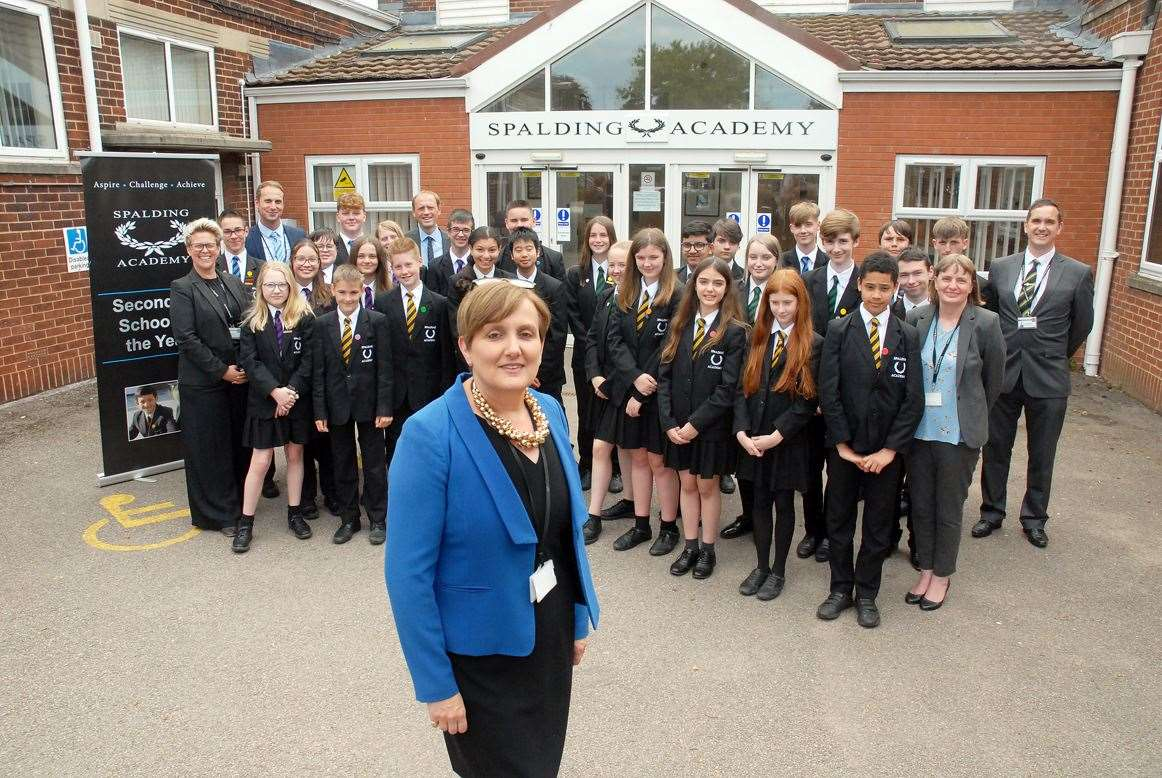 Executive head teacher Lucy Conley with staff and students.
