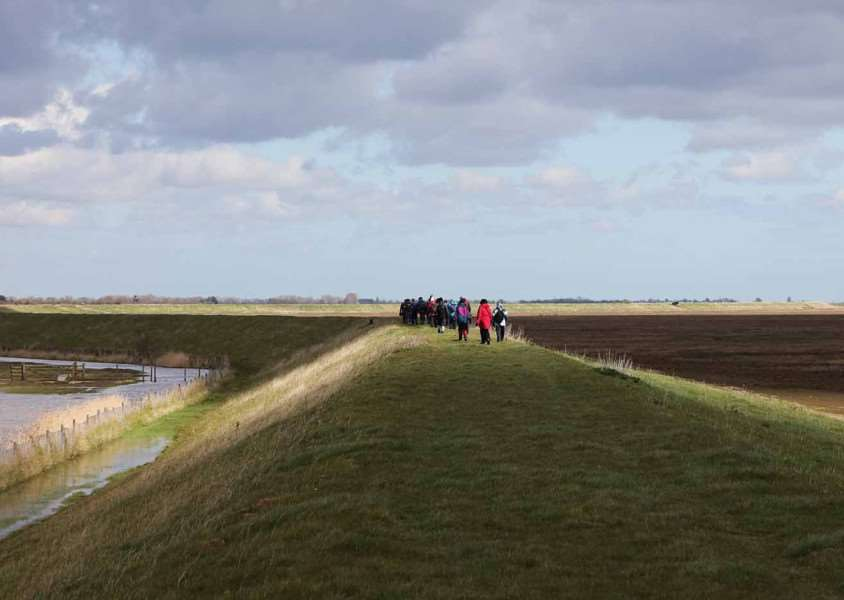 Ramblers on part of the proposed coast path near Frampton Marsh Nature Reserve.