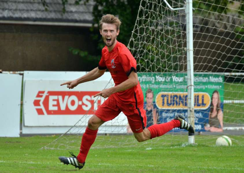 Ollie Maltby celebrates his goal against Lutterworth Town in august