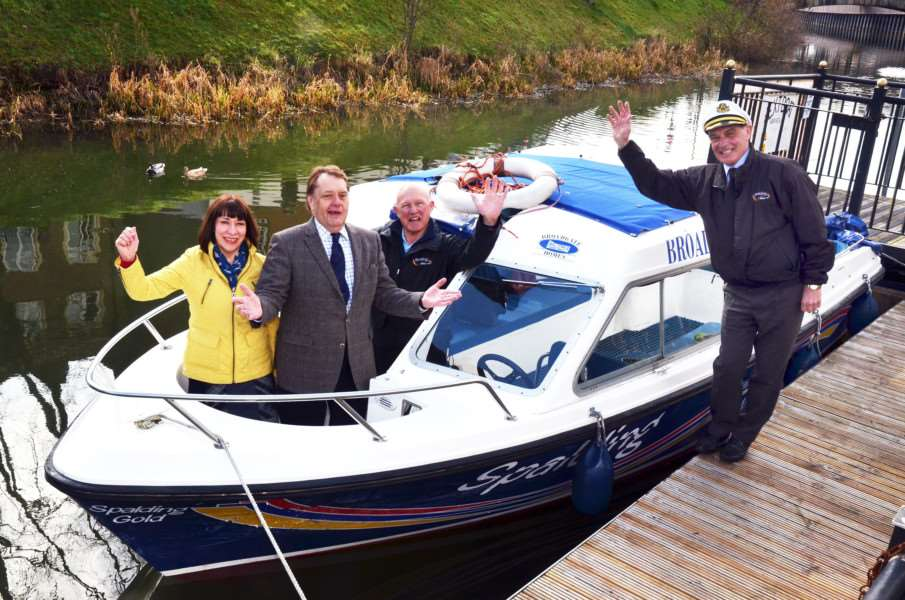 MP John Hayes launches the new Spalding water taxi season with wife Susan, pilot Norman Parish and operations director Anthony Grunwell