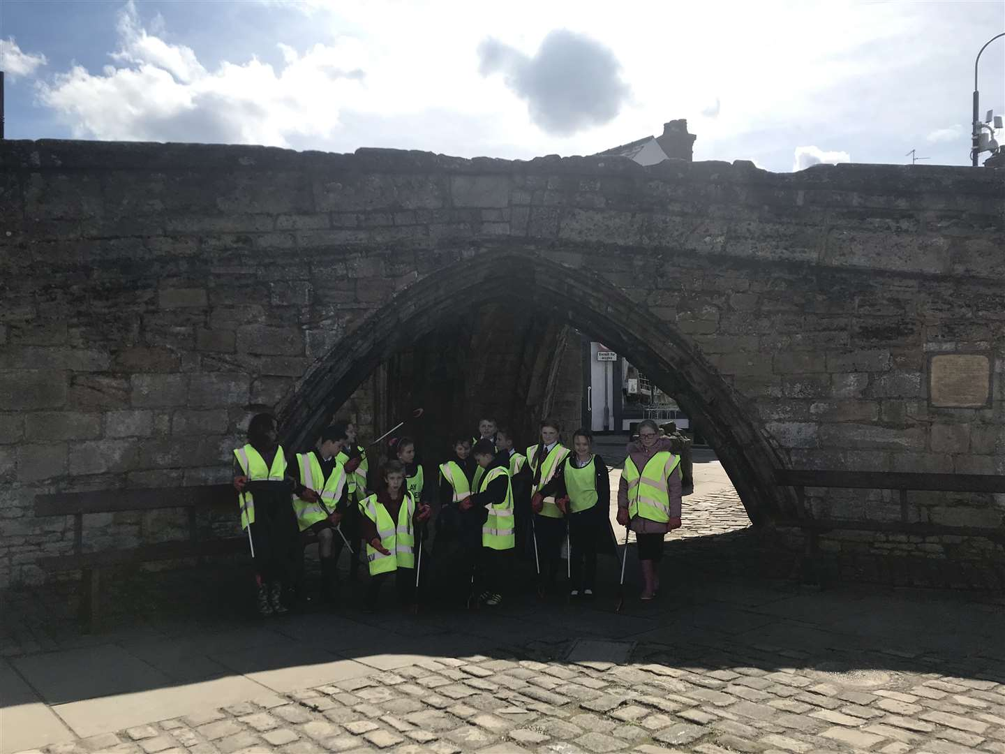 South View Community Primary School pupils in front of Crowland's Trinity Bridge. Photo supplied.