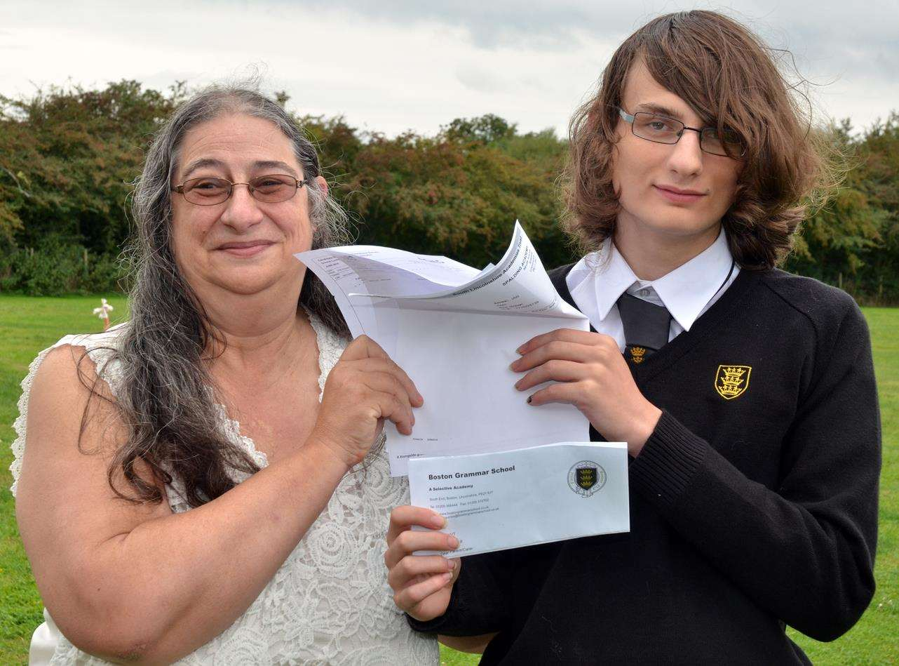 High-flying Sutterton GCSE autistic student Nathaniel Reynolds and his mother Ros Reynolds. Photo by Tim Wilson. SG-080918-096TW. (4066549)