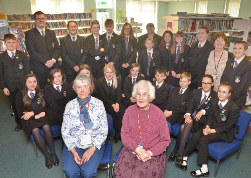 Retired teachers Margaret Rose and Joan Thornton (front), with staff member and former pupil Maxine Wilson (right), head teacher Jane Moody (back) and students. Photo (TIM WILSON): SG170418-114TW