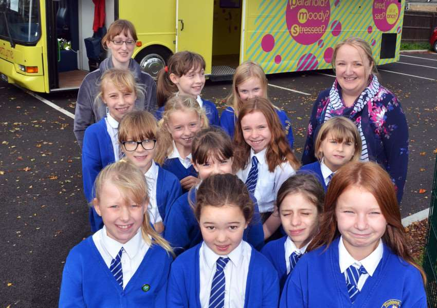 Pupils in front of the 'betty bus' in Pinchbeck