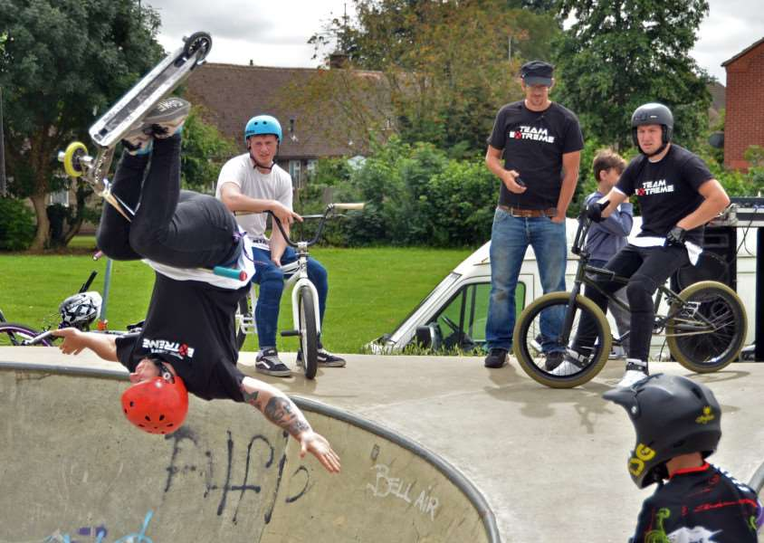 Professional skaters show off their tricks at a previous skate jam at Spalding's skatepark. Photo (Tim Wilson): SG020816-130TW