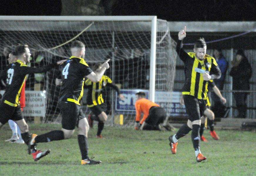 Josh Ford celebrates scoring against Pinchbeck