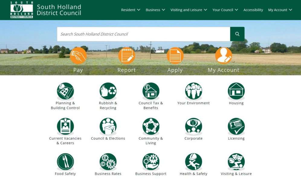 South Holland District Council's new website.