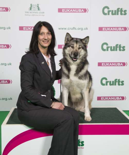 Nicola Singh celebrating a best of breed win for eight-year-old Greenland Dog Java