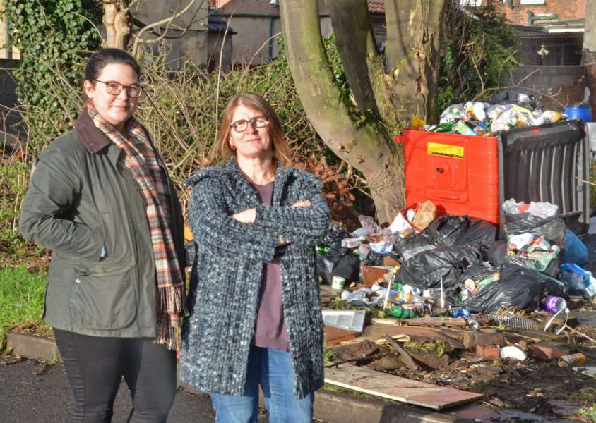 Jackie Allen (left) and Julia Turner have complained about rubbish left in Spalding's Victoria Street car park. Photo by Tim Wilson. SG050118-104TW.