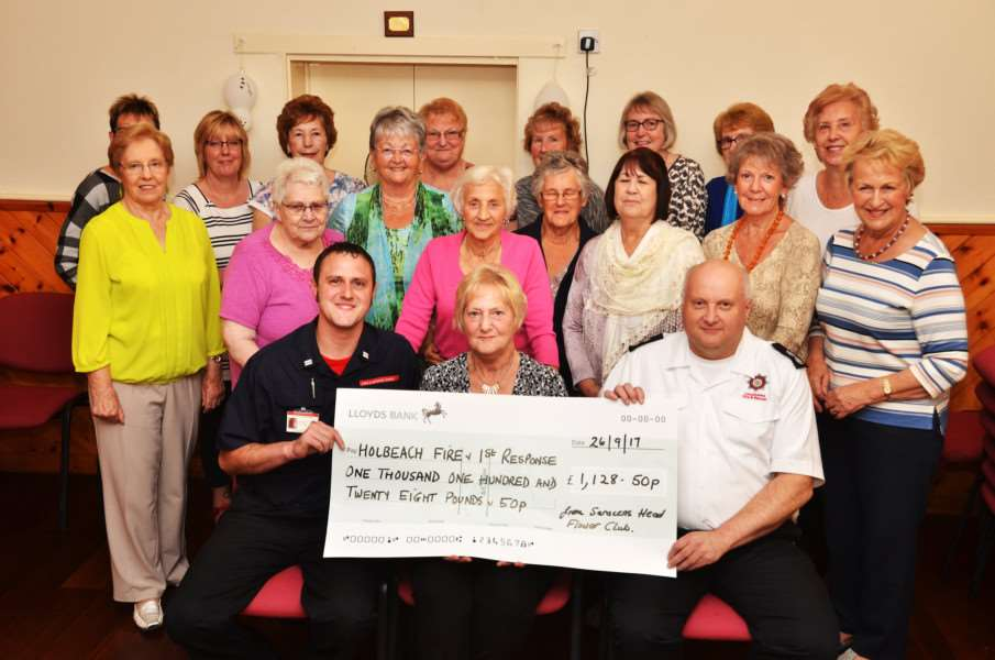 Saracen's Head village hall, cheque presentation to fire service and first response