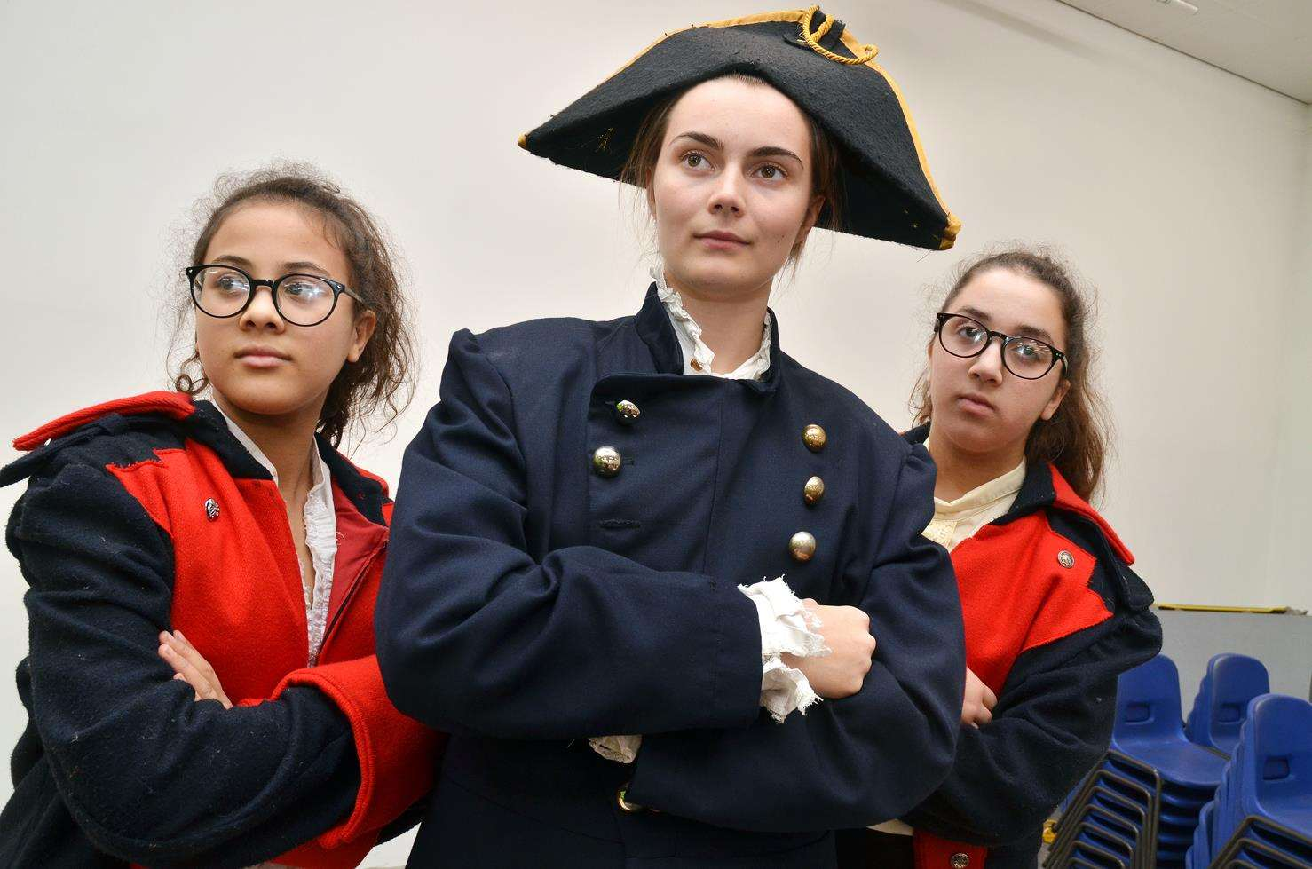 Libbi Wooding (centre, Javert) with Maddison and Jodie Benjamin (Constables).Photo by Tim Wilson.SG-051118-014TW