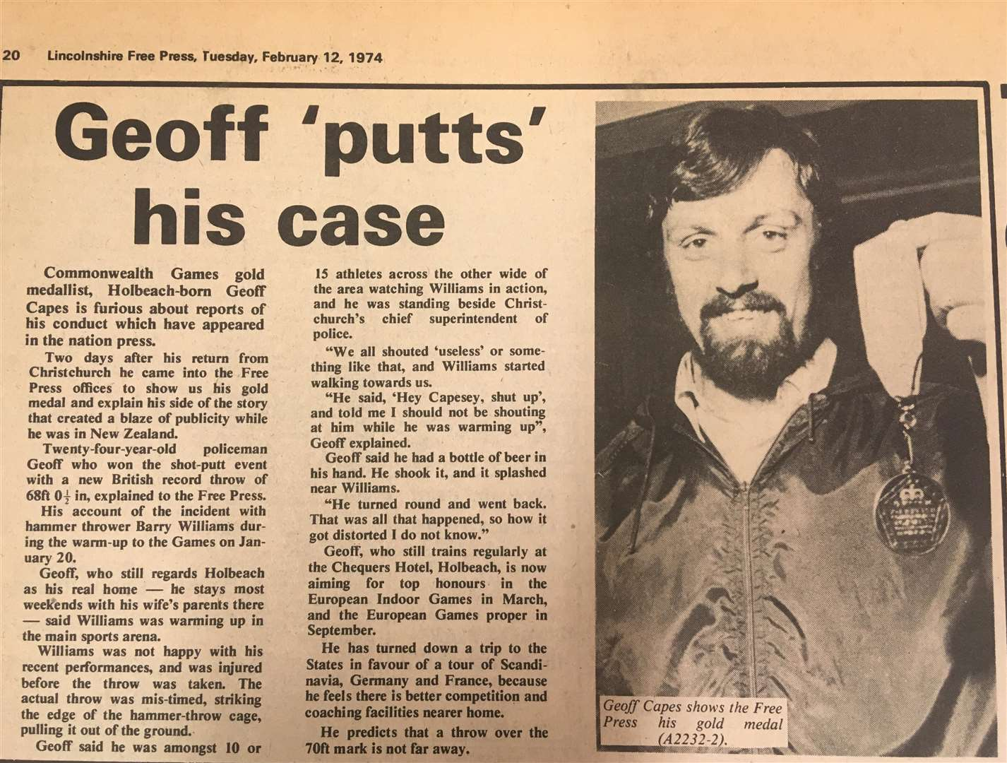 How the Lincolnshire Free Press reported Geoff Capes' gold medal at the 1974 Commonwealth Games