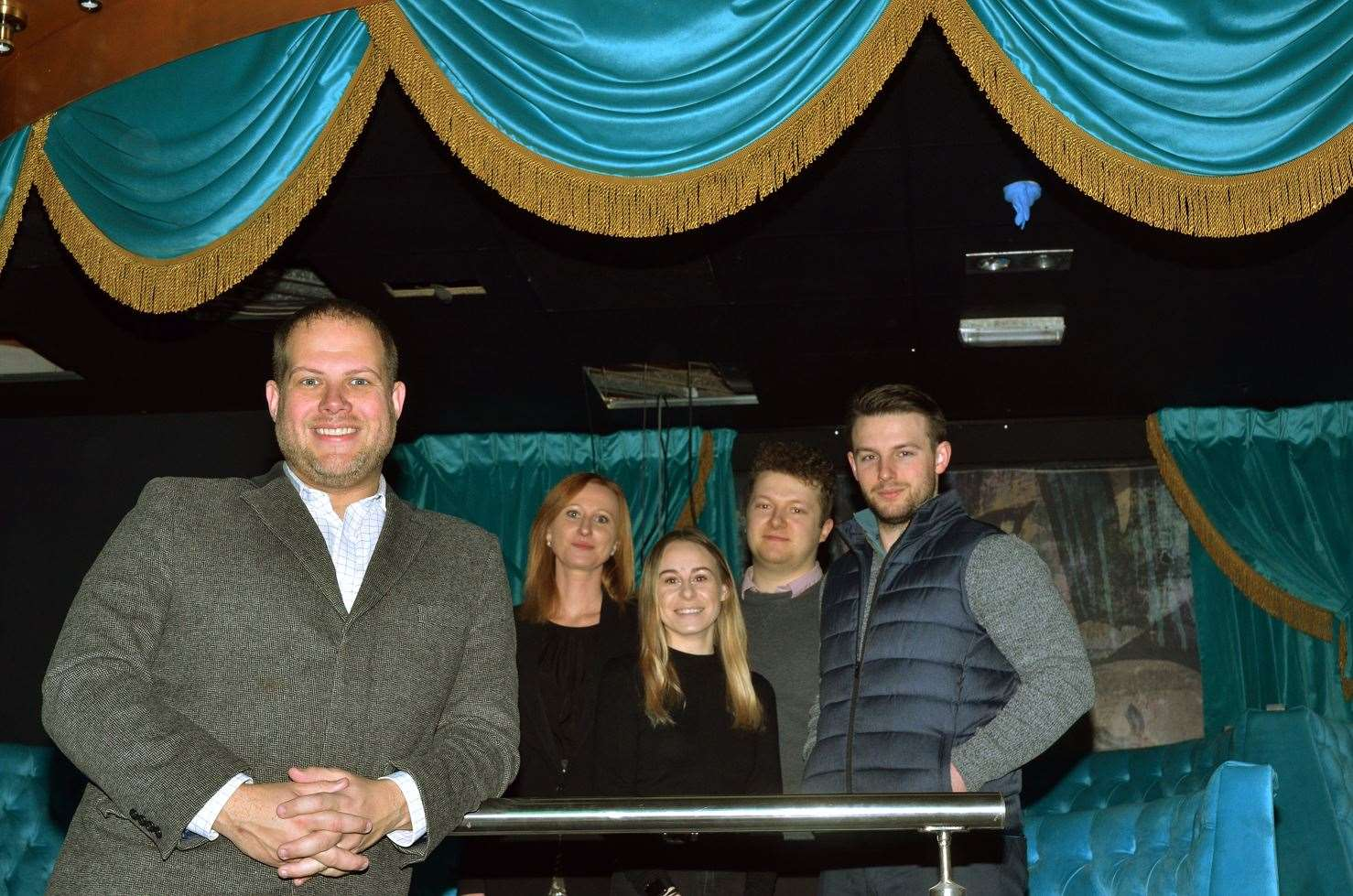 Matt Clark, director of Activ Leisure which owns the renamed XO (formerly Loaded) Nightclub in Spalding, with Activ Leisure staff Gosia Geraghty, Genevieve Rosenberg, Jake Harrington and Daniel Hawkey-Smith. Photo by Tim Wilson. SG0080319-029TW