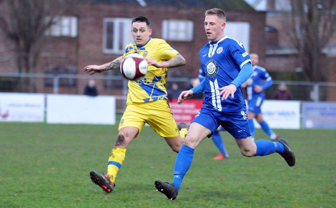 Joel Brownhill (left) is one of three players to have left Spalding United ahead of their home game against Belper Town on Saturday.Photo by Tim Wilson.SG-211219-226TW.