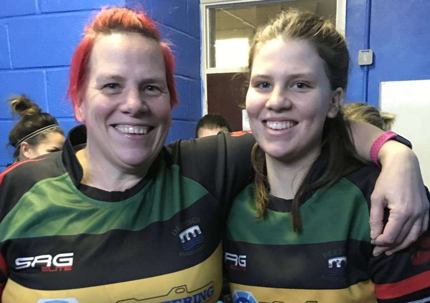 Mum and daughter rugby teammates Linda and Bryony Hickson.