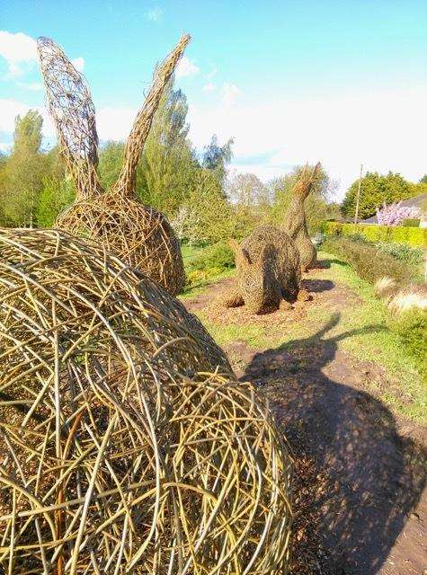 The new willow hares at Surfleet's Glen Park, that were created by artist Alison Walling. (2080344)