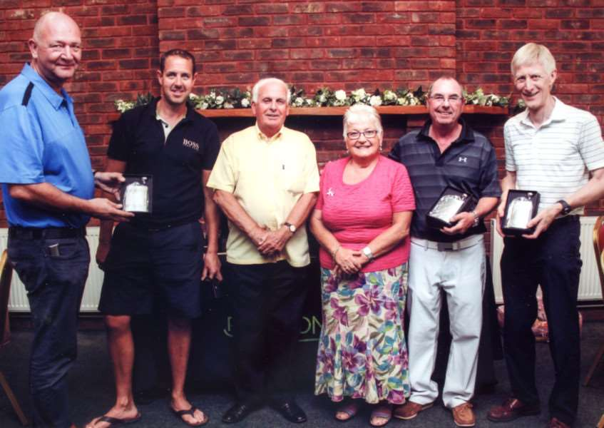 The successful men's team from the 15th Katie Clarke Memorial Fund Golf Day at Boston West Golf Club with Fred and Margaret Clarke (centre). Photo supplied.