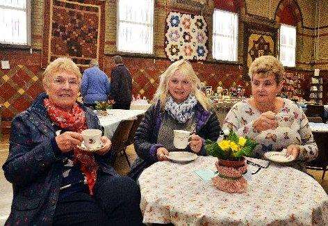 Tina Maddison, Nicola Wellband and Paulina Roberts at an afternoon tea in aid of Gosberton Public Hall. Photo by Tim Wilson. SG280416-169TW. (2041952)