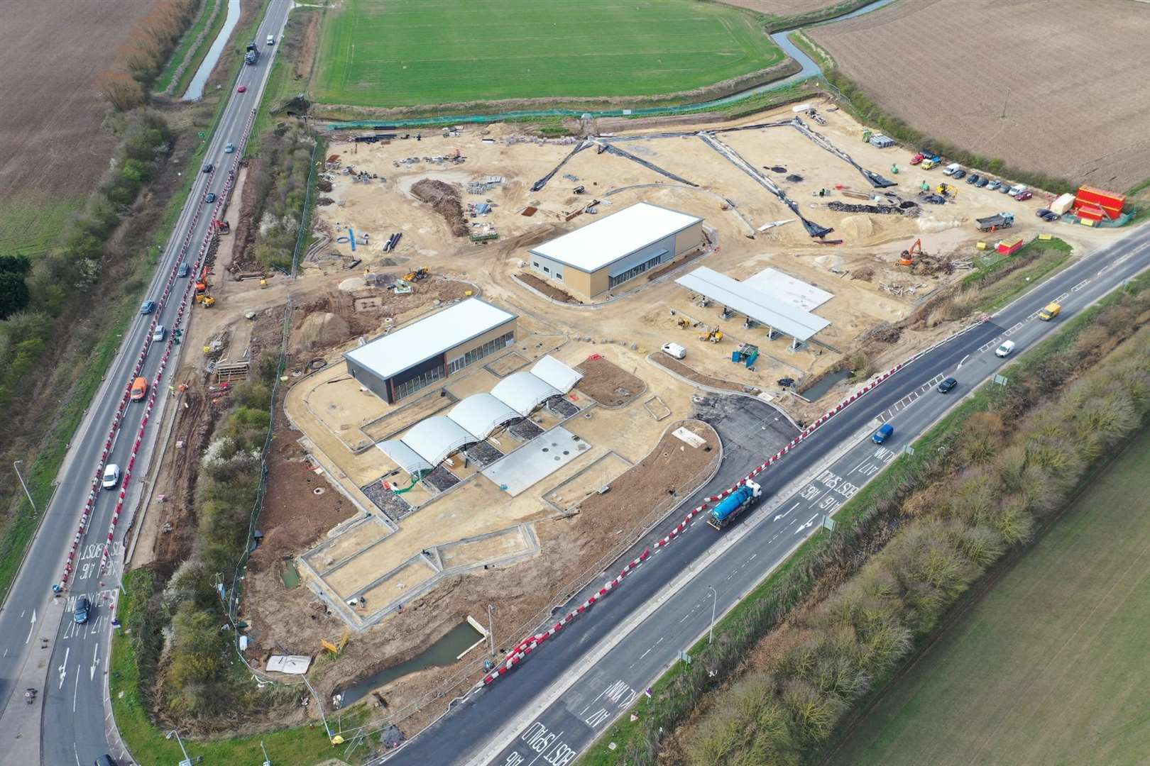 An aerial view of the Shell Sutterton Truck Port under construction ... the A16 is left and the A17 is right.