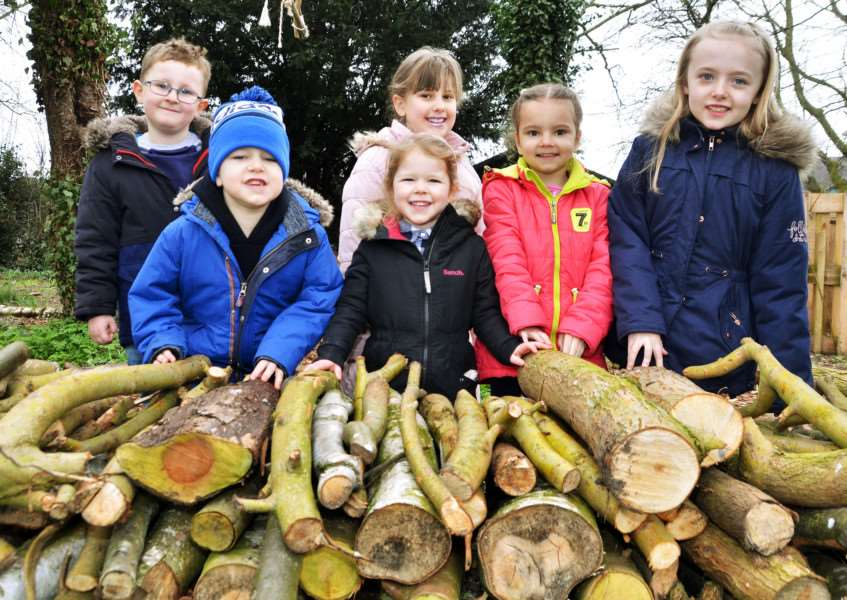 Youngsters at Pinchbeck East Primary School are encouraged to find logs for the new outdoor learning area. Photo by Tim Wilson. SG240318-111TW.