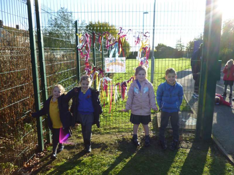 Remembrance heart at Weston Hill Primary School