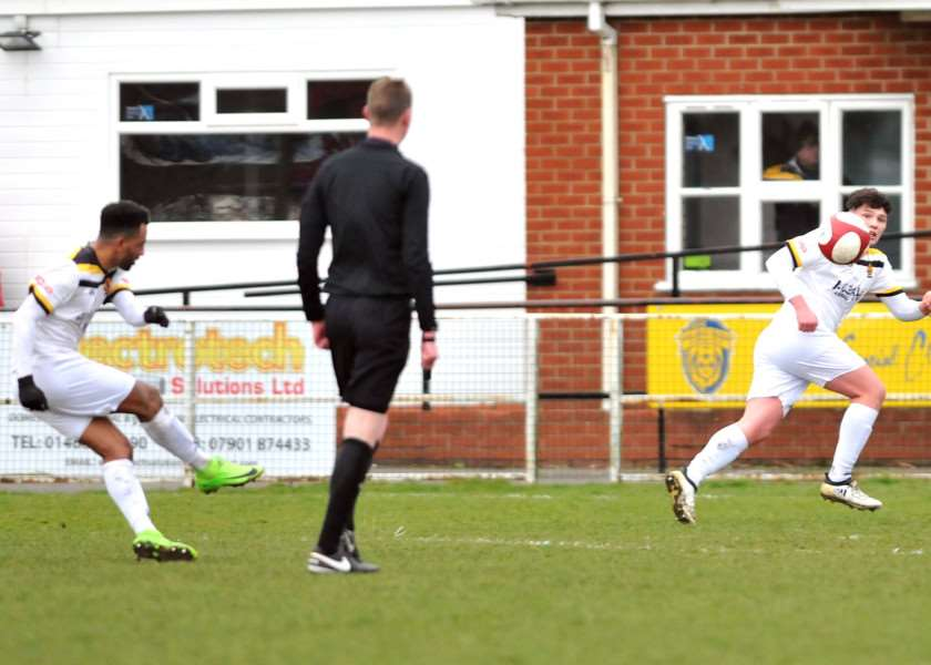 Lee Williamson scores from a free-kick