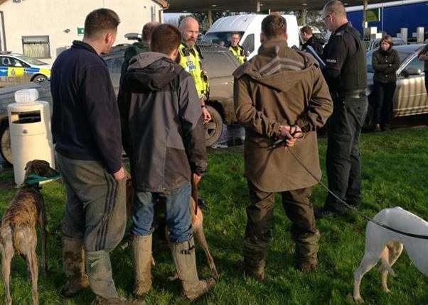 PC James Perring speaks to suspected hare coursers at an Operation Galileo day of action during the 2017-18 season. Photo supplied by Lincolnshire Police. (6278348)