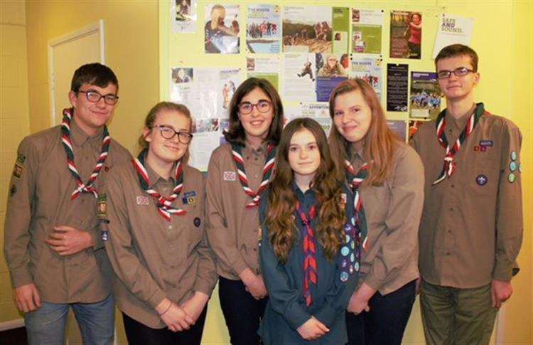 Nikki, Ellie Mae, Ben, Dominic, Maia and Lucy were all selected to represent British scouts at the World Scout Jamboree in America next summer (2019). (5709871)
