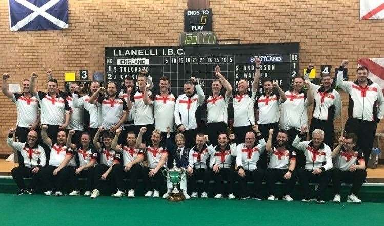 England's victorious men's team after the British Isles indoor series held at Llanelli Indoor Bowls Club in Wales. Photo supplied.