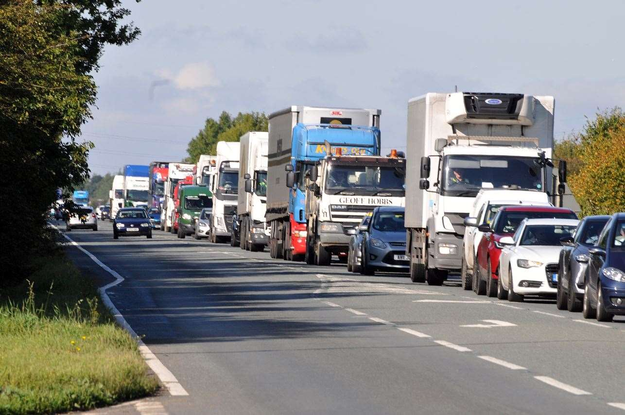 Traffic queuing on the A17 yesterday as bridge resurfacing works began
