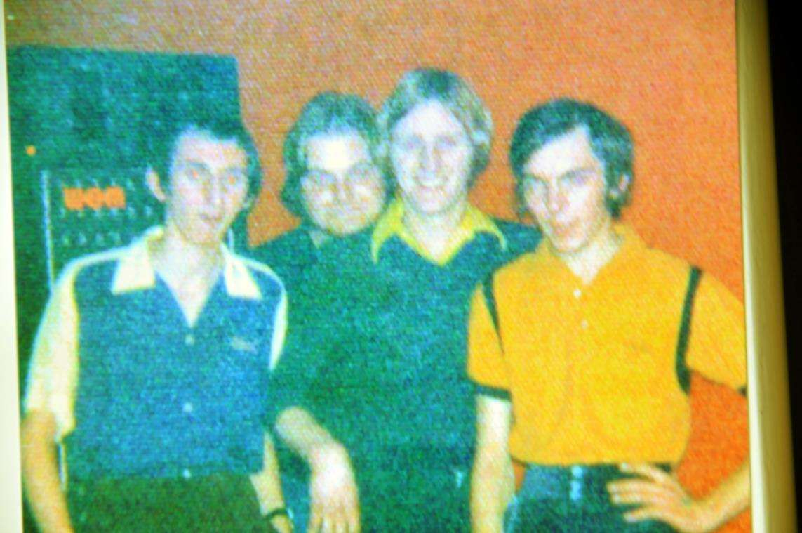 Jobie (third from left) and friends in Spalding's Horseshoe Bar in 1972.