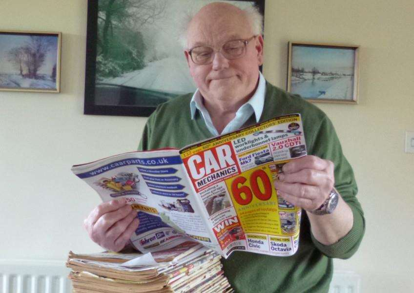 Inventor and Spalding Guardian columnist John Ward with some of his collection of the magazine, Car Mechanics.