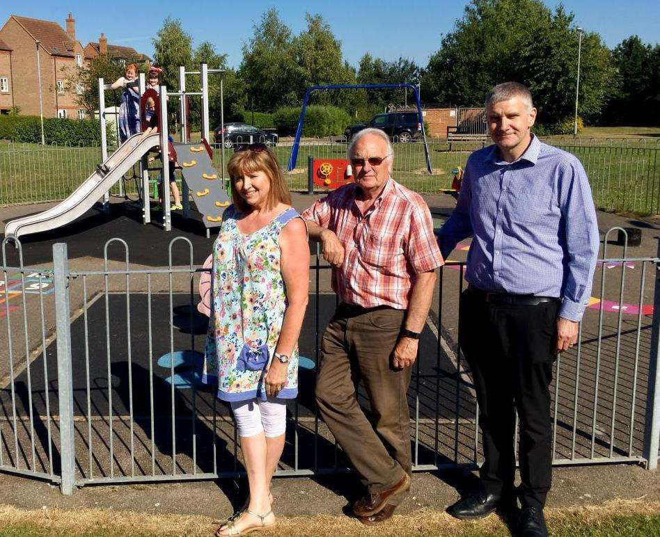 Coun William Rodwell (centre), chairman of Deeping St Nicholas Parish Council, at the village's revamped play park with district councillors Angela Harrison and Jim Astill. Photo supplied by South Holland District Council. (3513610)