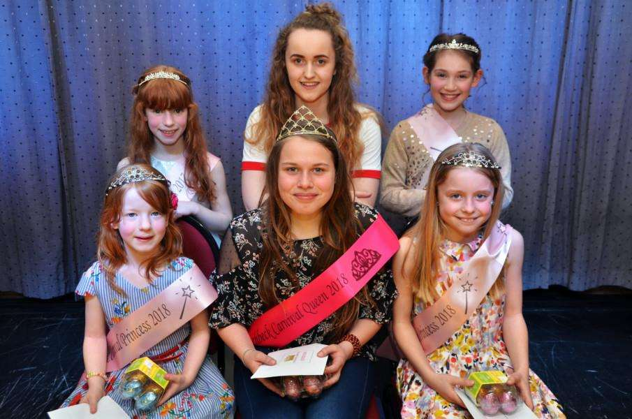 ROYAL GROUP: Carnival Queen for 2018 Sian Groves is flanked by her Princesses Sophie Bolton and Bella Parker.Behind them are last year's Royalty ' Sigourney Bolton, Molly Smith and Briony Sweeting. (SG230318-204TW)