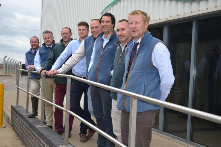 Richard Fox (operations director), Nick Herbert (engineering director), Max Martin (sales and trading manager), Fraser Hyslop (trainee grower), Rick Wyles (kale production supervisor), Ollie Boulton (Lincs farm manager), Boyko Karachabanov (leek harvest manager) and Nigel Patrick (farms director).