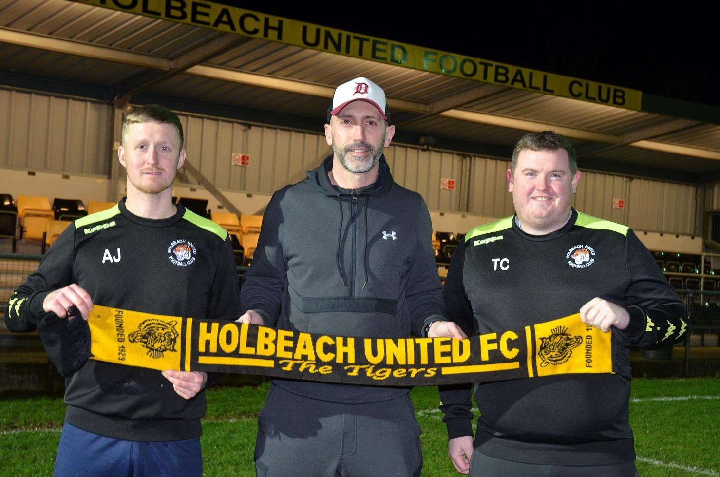 New manager Danny Hussey with player-coach Adam Jackson and assistant Tim Cole