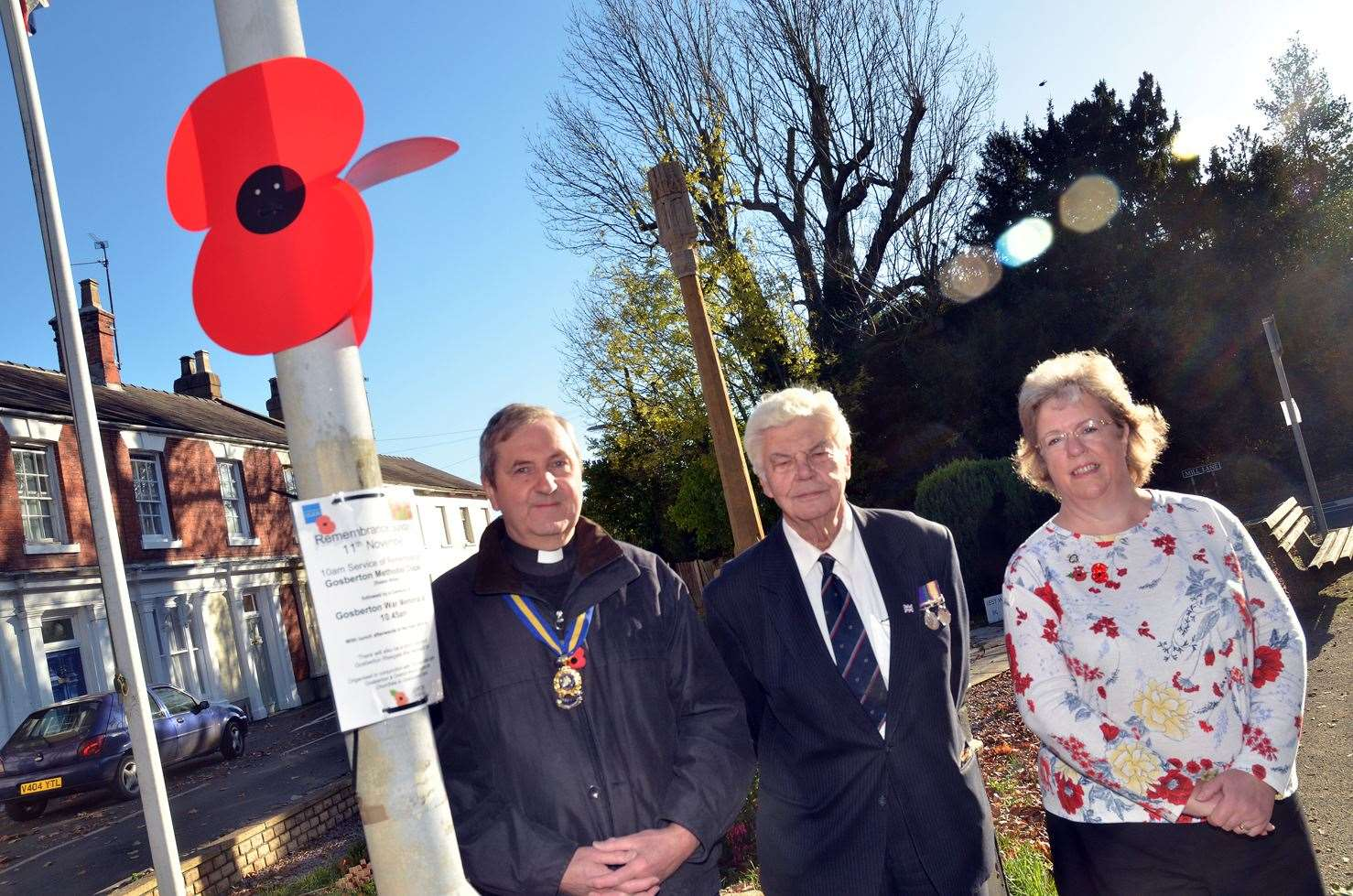 The Rev Ian Walters, vicar of Gosberton and chairman of Gosberton's Royal British Legion branch, Major Ron Meredith, branch president, and Debbie Reynolds, branch treasurer.Photo by Tim Wilson.SG-221018-4