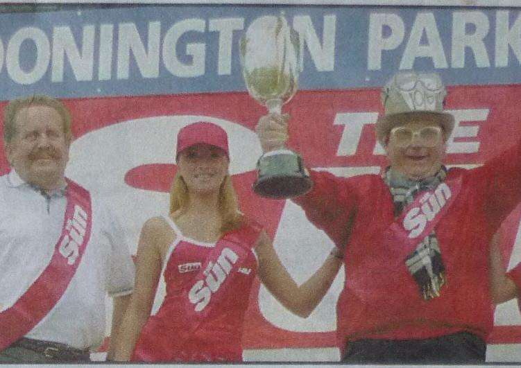 John received his award from Sun 'Page 3 girls' with Geoff (left) coming second.