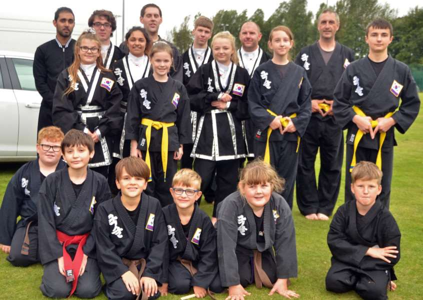 Members of the Kuk Sool Won martial arts team who gave a demonstration at Surfleet summer fete and dog show. SG100917-135TW