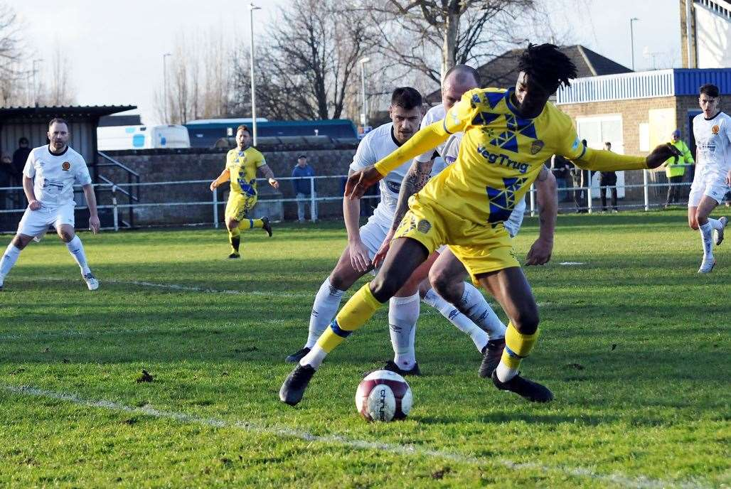 Spalding United v Belper Town, first half action.Photo by Tim Wilson.