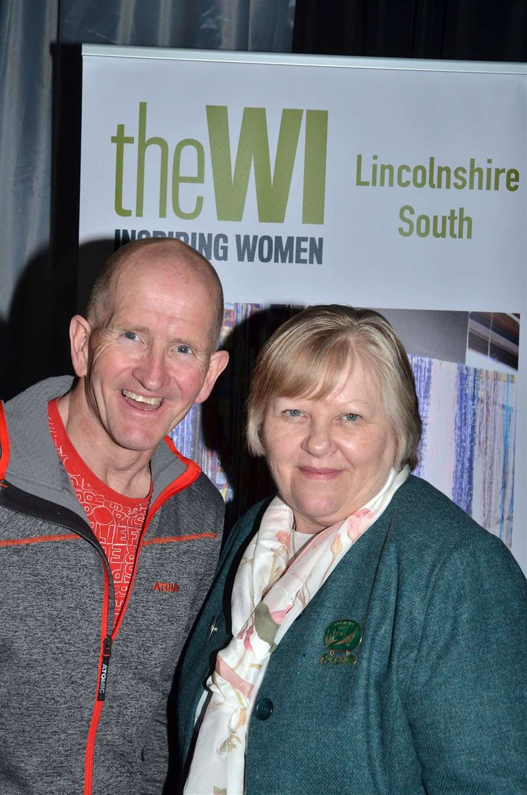 "Eddie ""The Eagle"" Edwards with Lincolnshire South Federation WI chairman Debbie Venn. (120319-4)"