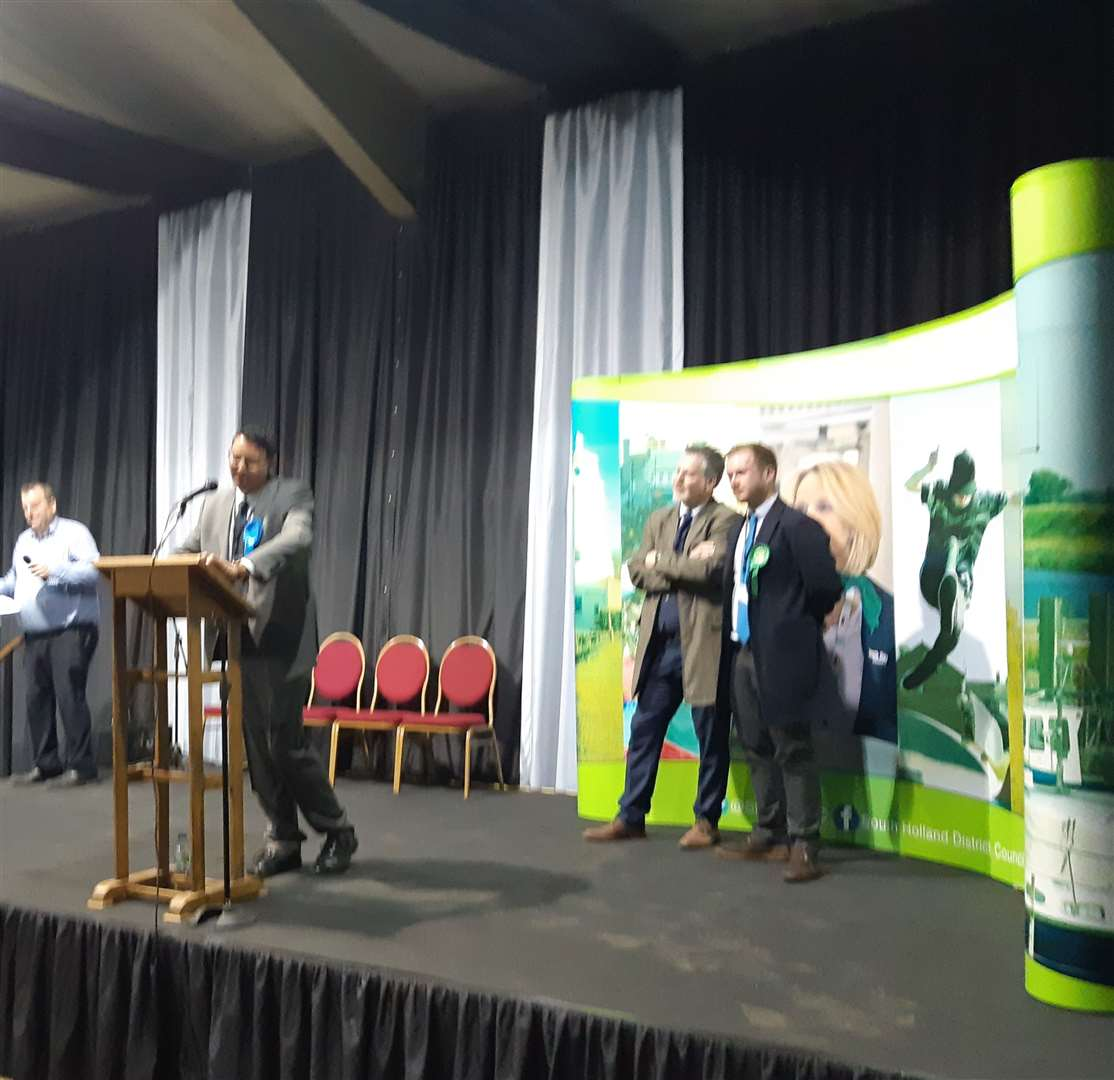 Coun Gary Taylor (Con) gives his acceptance speech after a close fight with Alistair Crisp (Green) in Spalding Castle ward.