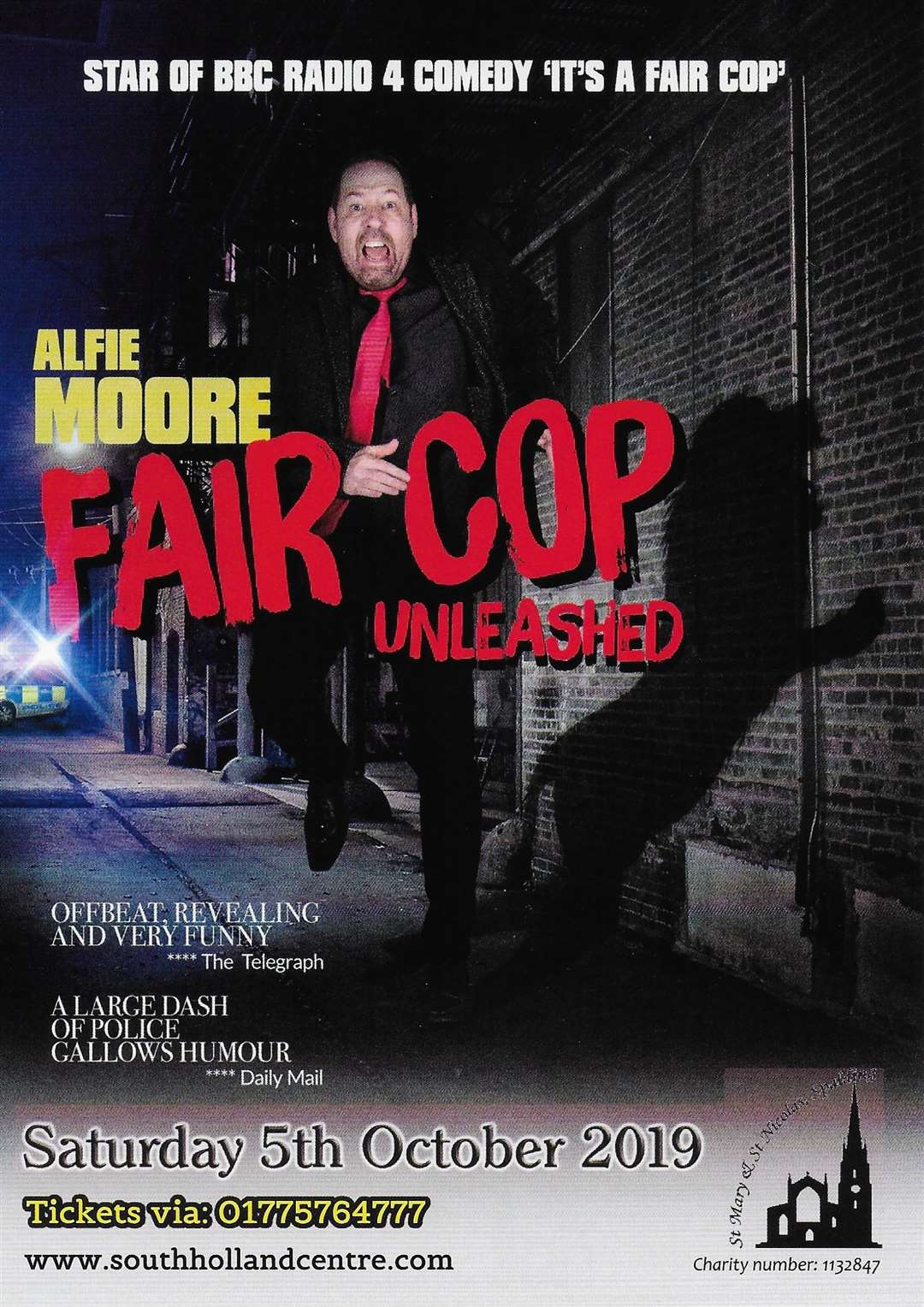 The poster for Alfie Moore - 'Fair Cop Unleashed' - at St Mary and St Nicolas Church, Spalding, on October 5.