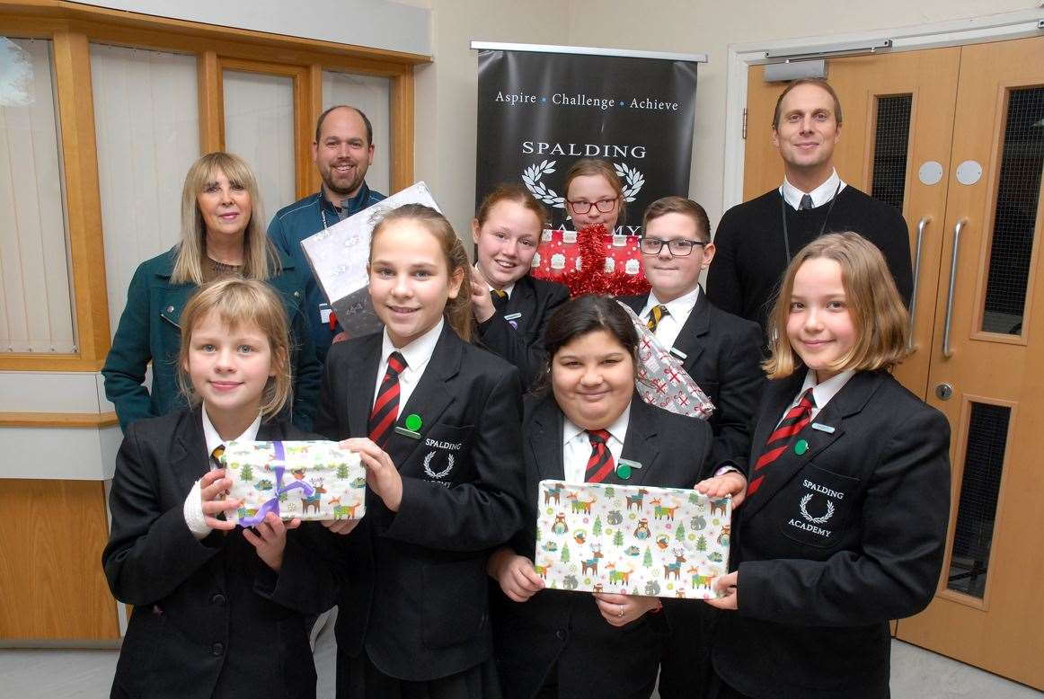 Students and staff at Spalding Academy who are supporting the Foodbank Appeal.