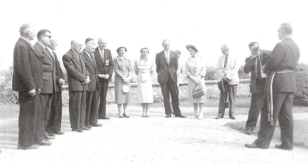 An early photo of the Jumelage (twinning group), including founders M and Mme Desroches in Sezanne. (Photo supplied).