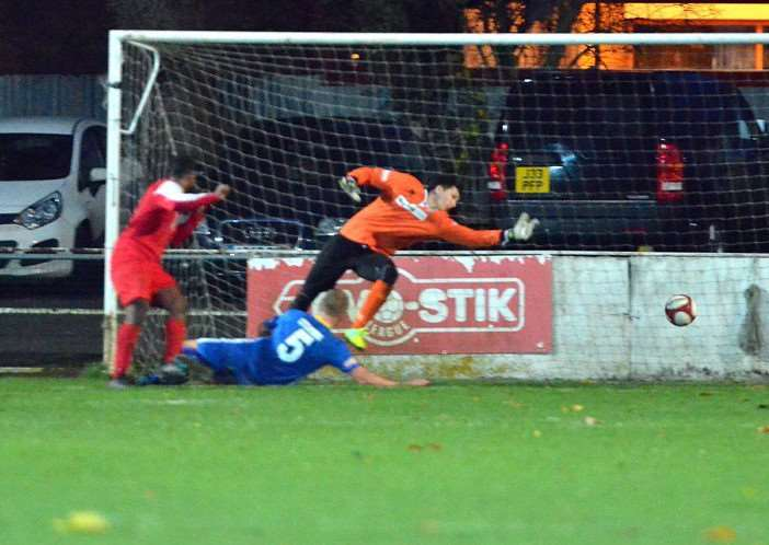 The winning goal at the Sir Halley Stewart Field