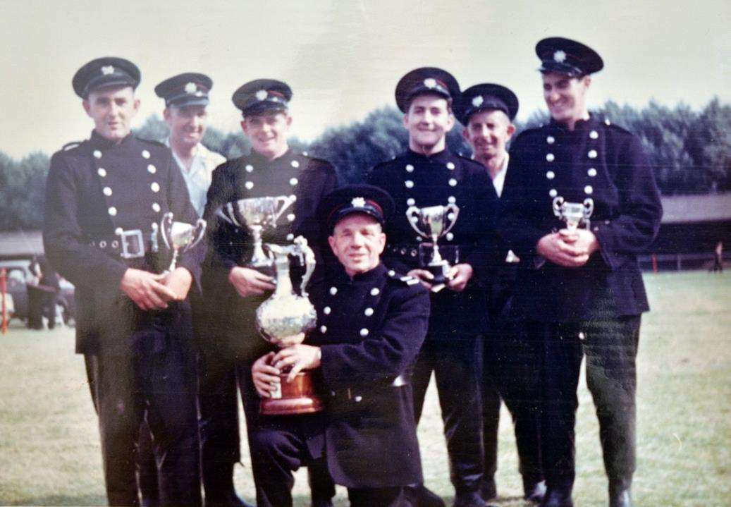 Ernie Staples (front) when he was a sub-officer at Donington Fire Station.