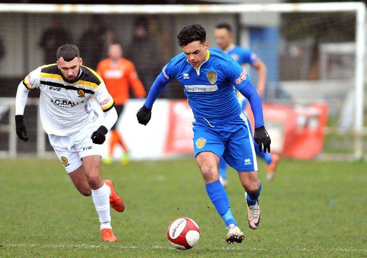 Jenk Acar is an injury concern for Spalding United ahead of their game against Belper Town. Photo by Tim Wilson.