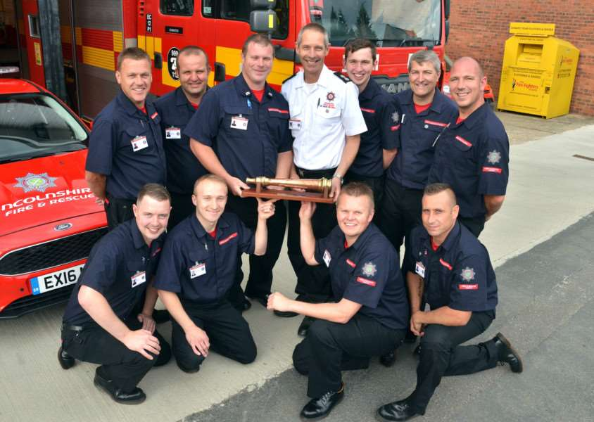 Staff at Donington Fire Station. Photo by Tim Wilson. SG260616-202TW.